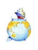 Aarde en wereldwaterwegenvervoer Stock Foto's