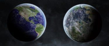 Aarde exoplanet in ruimte Stock Foto's