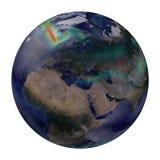 Aarde globale winden. Europa, Afrika en Azië. Royalty-vrije Stock Foto's