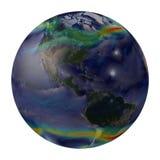 Aarde globale winden. Het noorden en Zuid-Amerika. Stock Afbeeldingen