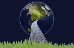 Aarde in grasidee Stock Foto