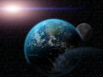 Aarde in heelal Royalty-vrije Stock Foto's