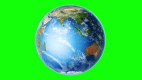 Aarde het Zuidelijke Hemisfeer Roteren (Lijn op Greenscreen) stock video