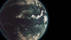 Aarde langs in ruimtenacht de planeet roteert zich langzaam en verwijdert einden op het centrum van het kader vector illustratie