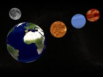Aarde, maan en planeten Royalty-vrije Stock Afbeeldingen