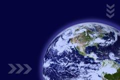 Aarde met Blauwe Atmosfeer Stock Afbeelding