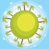 Aarde met blauwe hemel vectorillustratie stock illustratie