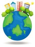 Aarde met bomen en lange gebouwen vector illustratie