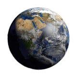Aarde met Cloudscape De mening van Afrika Stock Afbeelding