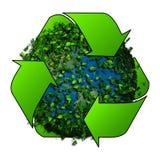 Aarde met de bladeren wordt behandeld dat Ecobol Recycleer embleem met boom en aarde Ecobol met kringlooptekens Stock Afbeelding