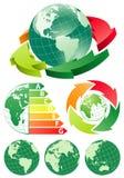 Aarde met de pijl van de energieefficiency royalty-vrije illustratie