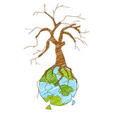 Aarde met droge boom die vernietiging tonen Stock Afbeelding