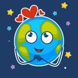 Aarde met dromerig gezicht en harten hierboven in sterrige hemel stock illustratie