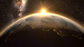 Aarde met een spectaculaire zonsondergang, Stock Afbeelding