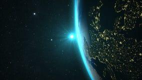 Aarde met een Spectaculaire Zonsondergang Stock Afbeelding