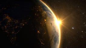 Aarde met een spectaculaire zonsopgang royalty-vrije stock foto's