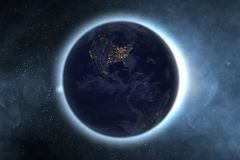Aarde met gloedkring in buitenmelkwegruimte Elementen van dit die beeld door NASA F wordt geleverd stock foto's