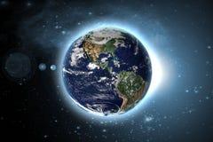 Aarde met gloedkring in buitenmelkwegruimte Elementen van dit die beeld door NASA F wordt geleverd stock fotografie
