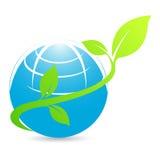 Aarde met groene bladeren Royalty-vrije Stock Afbeelding