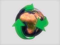 Aarde met groene pijlen Stock Afbeeldingen