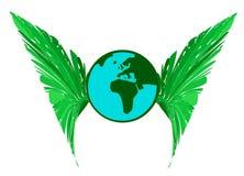 Aarde met Groene Vleugels Stock Fotografie
