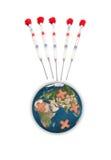 Aarde met hechtpleister Royalty-vrije Stock Afbeelding