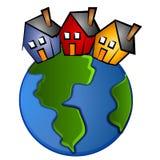 Aarde met het Art. van de Klem van 3 Huizen vector illustratie