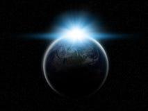 Aarde met het toenemen zon Stock Afbeeldingen