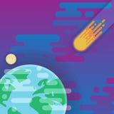 Aarde met komeet en maan in ruimte - vlakke illustratie, kosmoselementen Stock Fotografie
