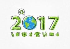 Aarde 2017 met kringloopteken vectorillustratie vector illustratie