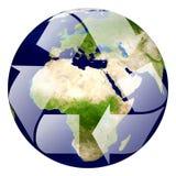 Aarde met kringlooptekens, Pijl rond de ecobol Stock Foto's