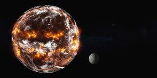 Aarde met maanexplosie stock fotografie