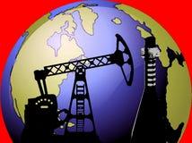 Aarde met olie boorbeeld Royalty-vrije Stock Foto's