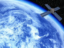 Aarde met Satelliet Royalty-vrije Stock Afbeeldingen