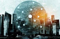 Aarde met stadslandschap Stock Afbeelding