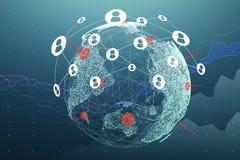 Aarde met twee grafieken en netwerk Royalty-vrije Stock Afbeelding