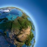 Aarde met verlicht haut-reliëf, Stock Foto
