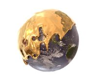 Aarde met vloeibare gouden, 3d illustratie wordt behandeld die royalty-vrije illustratie