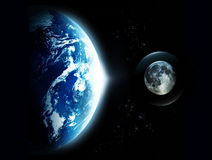 Aarde met zon het toenemen en de maan van ruimte-originele im Royalty-vrije Stock Afbeeldingen