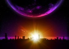 Aarde met zonsopgang in ruimte vector illustratie