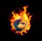 Aarde op brand Stock Foto's