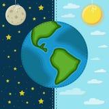 Aarde op een achtergrond van dag en nacht Stock Afbeeldingen