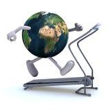 Aarde op een lopende machine Stock Afbeelding