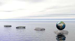 Aarde op een steen op water royalty-vrije illustratie