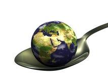 Aarde op lepel Stock Afbeeldingen