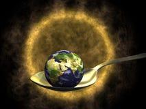 Aarde op lepel en Zon Royalty-vrije Stock Afbeelding