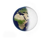 Aarde over wit Stock Afbeelding