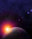 Aarde in ruimte stock illustratie