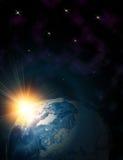Aarde in ruimte Stock Afbeelding
