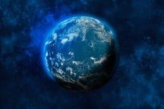 Aarde in ruimte Oceaan en wolken vector illustratie